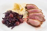 roasted duck breast with pasta tatters and red cabbage