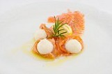 marinated salmon carpaccio with horseradish foam