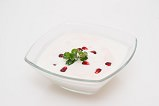 lemon sorbet with pomegranate and a hint of lemon balm